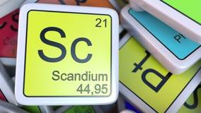 在堆的钪块化学元素块的周期表 化学相关3D翻译 免版税库存图片