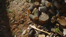 在堆03的投掷的木头 影视素材