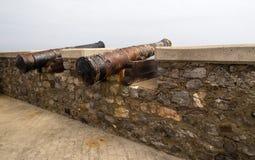 在堡垒墙壁上的古老枪 免版税库存图片