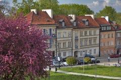 在堡垒墙壁附近的五颜六色的房子在老镇在华沙 樱桃绽放 免版税库存图片