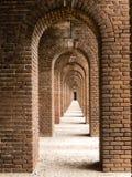 在堡垒杰斐逊的砖曲拱 免版税库存照片