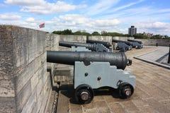在堡垒波兹毛斯的英国大炮 库存照片