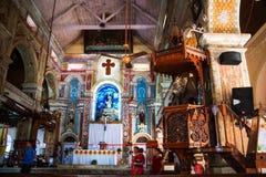在堡垒的科钦一个圣克鲁斯大教堂里面,印度 免版税库存图片