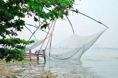 在堡垒高知的中国捕鱼网 免版税库存图片