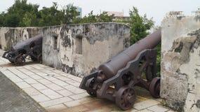 在堡垒Monte大炮台的大炮 澳门 免版税库存照片