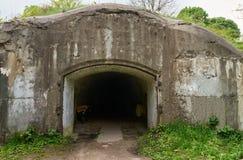 在堡垒Tarakanovskiy废墟的入口  库存照片