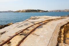 在堡垒Tigne的老路轨 免版税库存图片