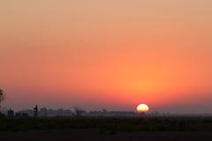 在堪萨斯大草原的日出 库存照片
