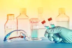 在塑料小瓶的两个液体样品在手上女性scient 免版税库存照片