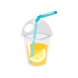 在塑料杯子的柠檬水 库存例证