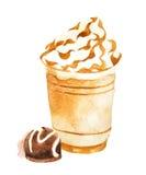 在塑料杯子的水彩咖啡 免版税图库摄影