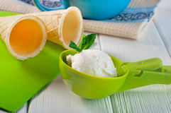 在塑料瓢的香草冰淇淋球用薄菏和奶蛋烘饼c 免版税图库摄影