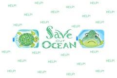 在塑料瓶的哀伤的海洋动物是怏怏不乐对于海洋污染 除我们的海洋外的题字 皇族释放例证