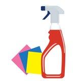 在塑料瓶的风窗清洁器洗涤剂有浪花的 向量 免版税库存图片
