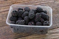 在塑料碗的黑莓果子在木背景 免版税库存照片
