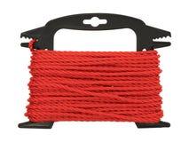 在塑料络纱机的红色聚丙烯绳索 免版税库存照片