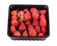 在塑料黑匣子包装的草莓在白色 图象包括的裁减路线 免版税库存照片