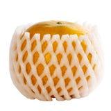 在塑料滤网的新鲜的桔子在白色背景 库存图片