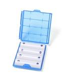 在塑胶容器的可再充电电池 免版税库存照片