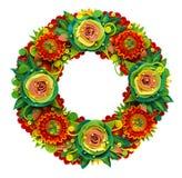 在塑造的技术做的夏天花圈由彩色塑泥 库存图片