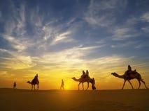 在塔尔沙漠, Jaisalmer,印度的美好的日落 免版税库存照片