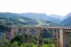在塔拉河的一座老桥梁 库存照片
