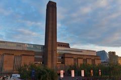 在塔特现代画廊的微明在伦敦,英国 图库摄影
