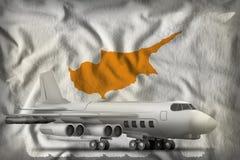 在塞浦路斯状态旗子背景的轰炸机 3d?? 向量例证