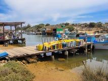 在塞浦路斯的东海岸的捕鱼港口 免版税库存图片