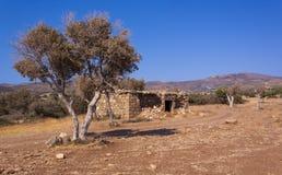 在塞浦路斯的半干旱沙漠场面 免版税库存照片