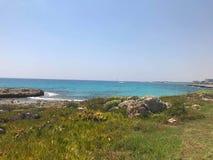 在塞浦路斯的海边 库存照片