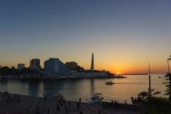 在塞瓦斯托波尔海湾的夏天日落  免版税图库摄影