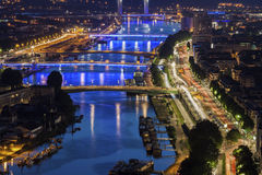 在塞纳河的桥梁在鲁昂 库存照片