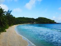 在塞舌尔的塔卡玛卡区海岸线 免版税库存图片
