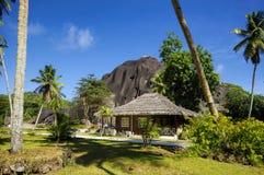 在塞舌尔群岛样式的村庄 库存图片