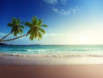 在塞舌尔群岛海滩的日落 库存照片