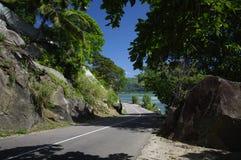 在塞舌尔群岛的典型的海岸街道 库存照片
