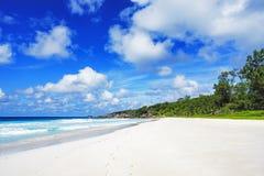 在塞舌尔群岛的天堂海滩,小的anse, la digue 6 图库摄影