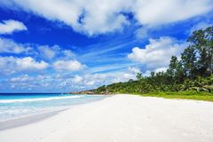 在塞舌尔群岛的天堂海滩,小的anse, la digue 4 免版税库存图片