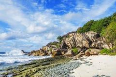 在塞舌尔群岛的天堂海滩,盛大anse, la digue 12 库存图片