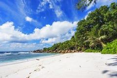 在塞舌尔群岛的天堂海滩, anse椰树, la digue 4 库存图片