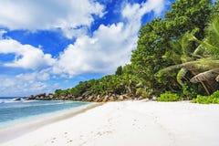 在塞舌尔群岛的天堂海滩, anse椰树, la digue 10 免版税库存图片
