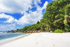 在塞舌尔群岛的天堂海滩, anse椰树, la digue 9 库存图片