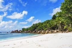 在塞舌尔群岛的天堂海滩, anse椰树, la digue 12 免版税图库摄影
