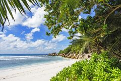 在塞舌尔群岛的天堂海滩, anse椰树, la digue 14 库存照片