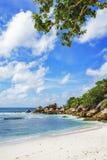 在塞舌尔群岛的天堂海滩, anse椰树, la digue 17 图库摄影