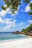 在塞舌尔群岛的天堂海滩, anse椰树, la digue 18 免版税库存照片