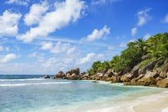 在塞舌尔群岛的天堂海滩, anse椰树, la digue 22 库存照片