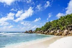 在塞舌尔群岛的天堂海滩, anse椰树, la digue 23 库存照片
