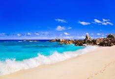 在塞舌尔群岛的热带海滩 库存照片